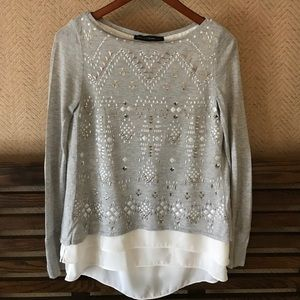WHBM Split Back Top with Metallic Details
